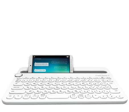 Bluetooth Multi Device Keyboard K480, white, face view with a tablet