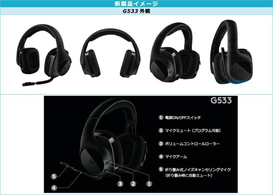 ロジクール 「G533 ワイヤレス DTS 7.1サラウンド ゲーミング ヘッドセット」を1月26日から発売